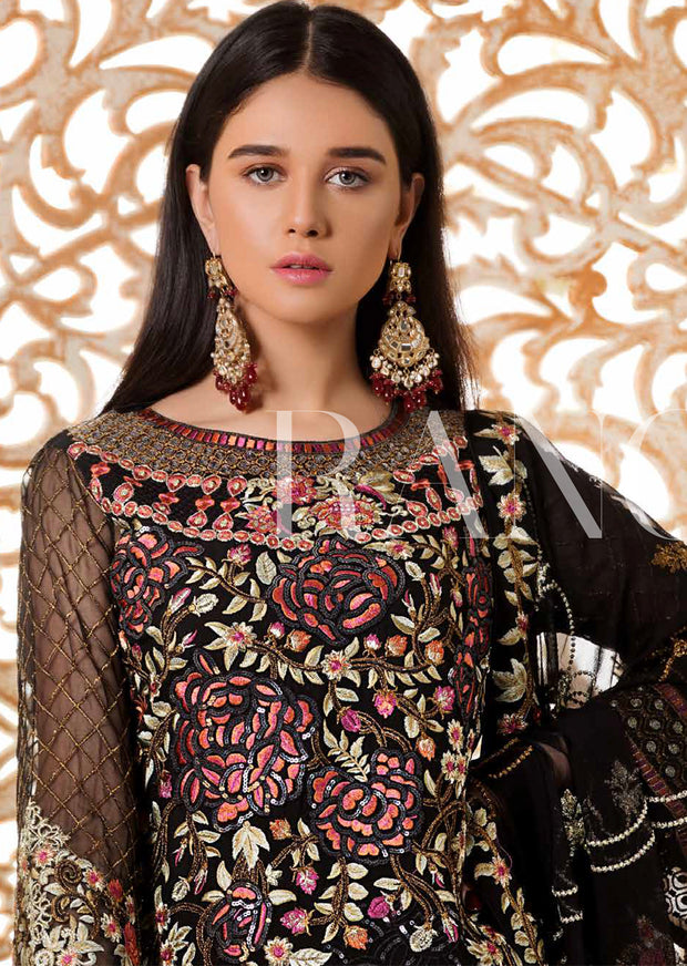 D-306 Black Magic - Ramsha Rangoon vol 3 READYMADE Pakistani designer chiffon collection wedding Eid Partywear - Memsaab Online