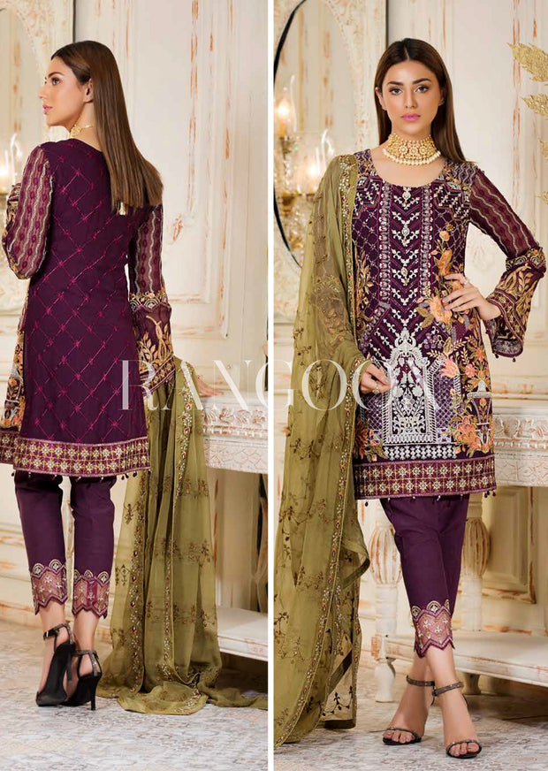 D-307 Starry Night - Ramsha Rangoon vol 3 READYMADE Pakistani designer chiffon collection wedding Eid Partywear - Memsaab Online