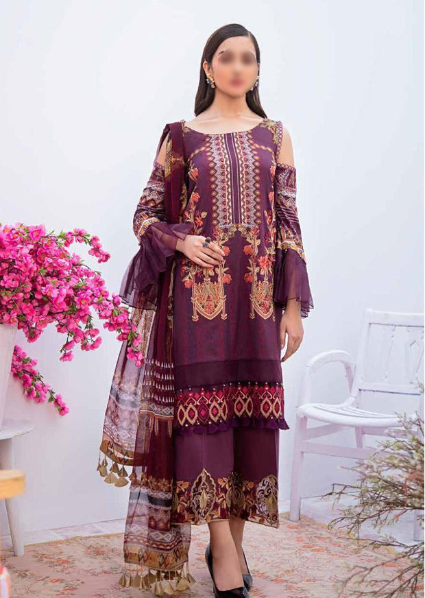 C-308 Unstitched Chevron Luxury Lawn Vol 3 - Memsaab Online
