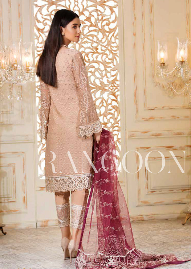 D-308 Plum Sorbet - Ramsha Rangoon vol 3 Unstitched Pakistani designer chiffon collection wedding Eid Partywear - Memsaab Online