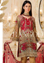 D-309 Gilded Rosette - Ramsha Rangoon vol 3 Pakistani designer chiffon collection wedding Eid Partywear - Memsaab Online