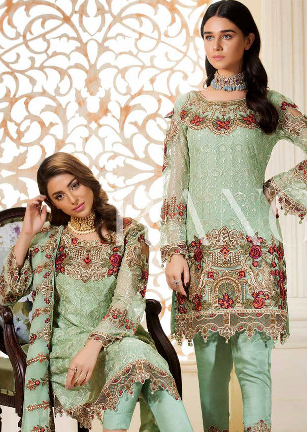 D-311 Minty Slush - Ramsha Rangoon vol 3 Unstitched Pakistani designer chiffon collection wedding Eid Partywear - Memsaab Online