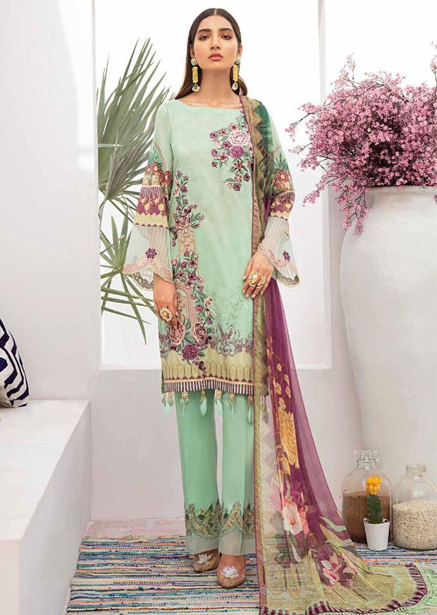 C-312 Unstitched Chevron Luxury Lawn Vol 3 - Memsaab Online