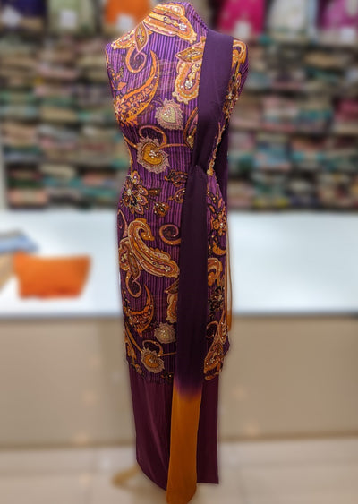 Memsaab Unstitched Premium Printed Chiffon Suits with Mirror Work - Memsaab Online