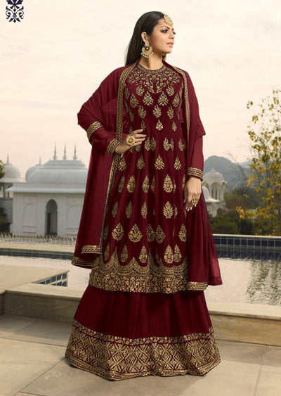 3801 - D - Unstitched - Violet INSPIRED / REPLICA Anarkali dress with skirt - Memsaab Online