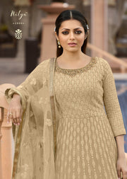 3806 - Unstitched - Beige - Nitya inspired - Georgette Embroidered gown - Memsaab Online