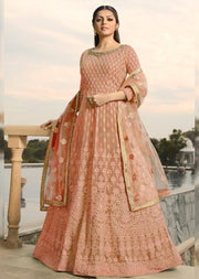 3806 - Unstitched - Peach - Nitya inspired - Georgette Embroidered gown - Memsaab Online