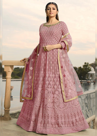 3806 - Unstitched - Pink - Nitya inspired - Georgette Embroidered gown - Memsaab Online
