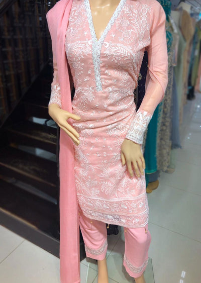 SD12 Readymade Pink Embroidered Masuri Cotton Suit - Memsaab Online
