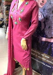 SD01 Hot Pink Readymade Lawn Suit with Handwork - Memsaab Online