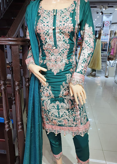 SM603 Simrans Readymade Linen Embroidered Suit - Memsaab Online