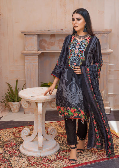 AMT20013 - Readymade Black Embroidered Lawn Dress - Memsaab Online