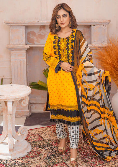 AMT21003 - Readymade Embroidered Premium Lawn Suit - Memsaab Online