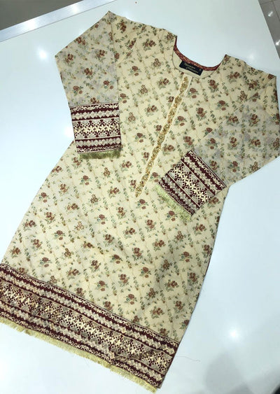 MR908 Readymade Gold Paper Cotton Kurti - Memsaab Online