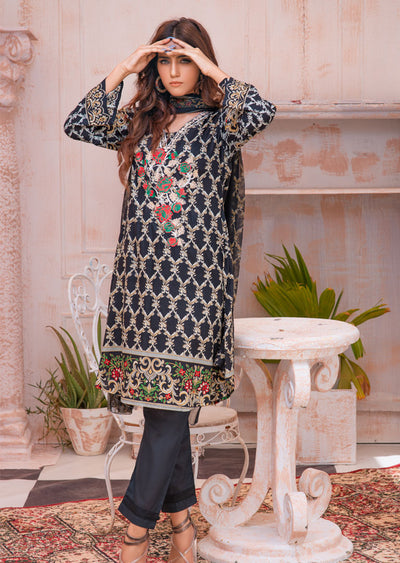 AMT20004 - Readymade Black Embroidered Dress Suit - Memsaab Online