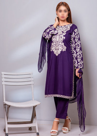 HK29 Readymade Purple Embroidered Linen Suit - Memsaab Online