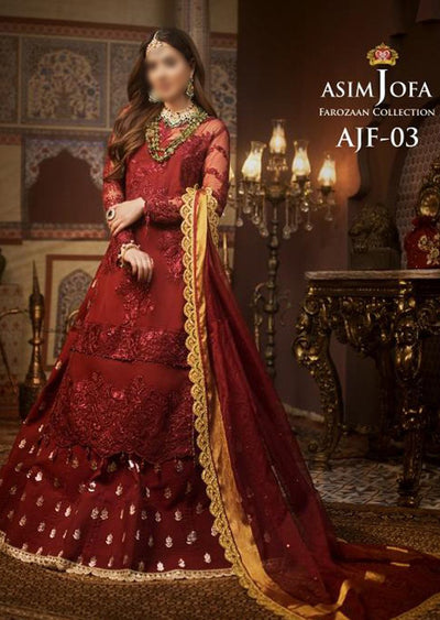 AJF03 - Unstitched - Farozaan Collection by Asim Jofa 2020 - Memsaab Online