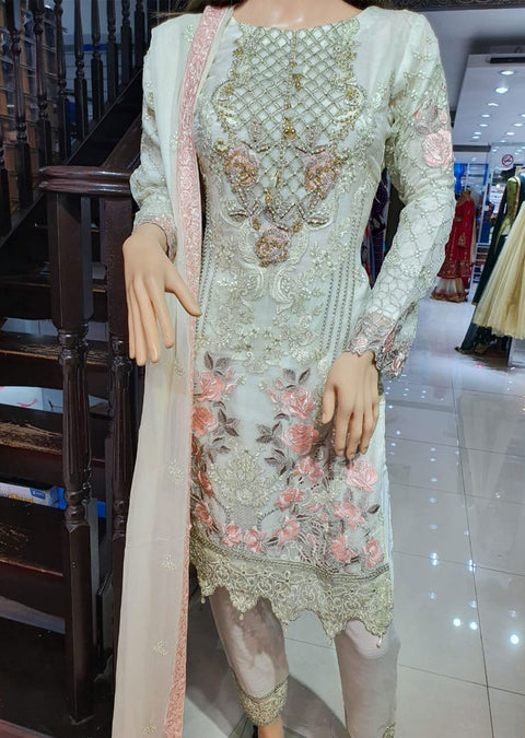 1488 Off White Readymade Chiffon Suit - Memsaab Online