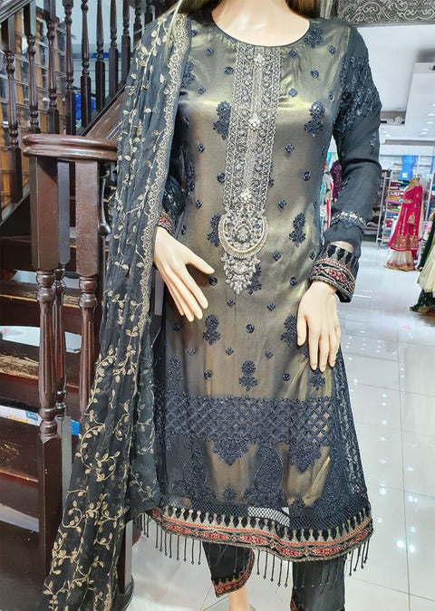 ZN9521 Readymade Black Chiffon Suit - Memsaab Online