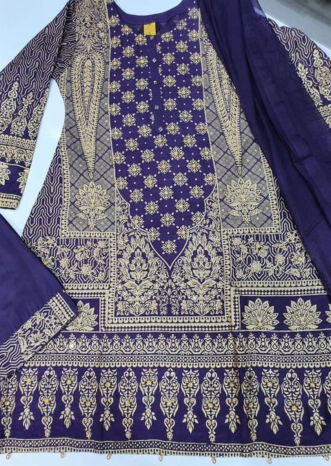 ZN1195 Readymade Purple Printed Suit - Memsaab Online