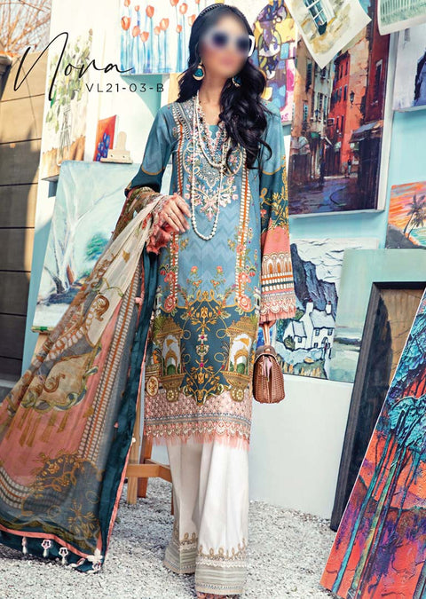 AV03-B - Nora - Unstitched - Viva Lawn Collection 2021 - Anaya by Kiran Chaudhry - Memsaab Online