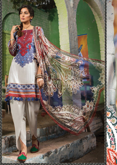 3B Maria B M Prints Unstitched 2019 - Pakistani Designer Embroidered Lawn Suit Spring / Summer UK DELIVERY - Memsaab Online