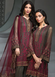 Rose Maison - Brown Unstitched Baroque Embroidered Chiffon Suit - Memsaab Online