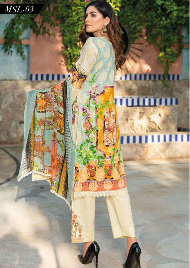 MSSL03 - Readymade - Munira Digital Airjet Lawn Collection 2020 - Memsaab Online