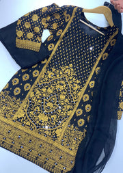 BLG203 Black Readymade Block Print Mirror Suit - Memsaab Online
