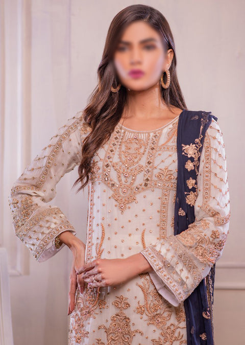 0740 Readymade White Chiffon Embroidered Suit - Memsaab Online