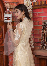 Synthia - Cream - Memsaab Exclusive Ready to Wear Eid Collection - Partywear Net Organza Dresses - Memsaab Online