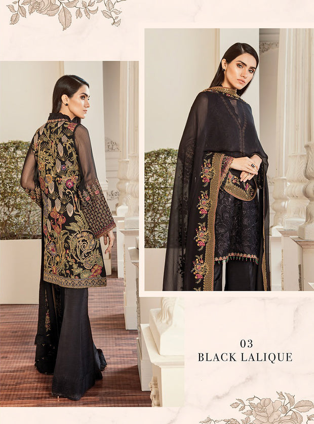 03 Black Lalique Chantelle Embroidered Chiffon - Memsaab Online