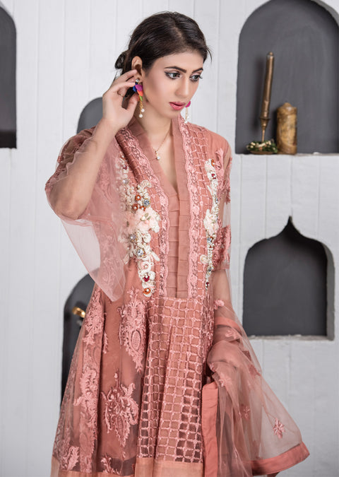 Synthia - Peach - Memsaab Exclusive Ready to Wear Eid Collection - Partywear Net Organza Dresses - Memsaab Online
