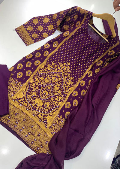 BLG203 Purple Readymade Block Print Mirror Suit - Memsaab Online