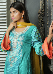 AMT1103 (Kameez Style) - Turquoise - Memsaab Festive Lawn - Readymade - Pakistani Embroidered Designer Ready to Wear Suit - Memsaab Online