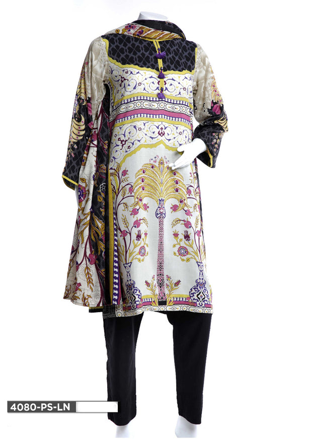 4080 Sha Posh - White Readymade Winter Linen 3 Piece Suit - Pakistani Designer - Memsaab Online