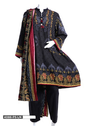 4086 Sha Posh - Black Readymade Winter Linen 3 Piece Suit - Pakistani Designer - Memsaab Online