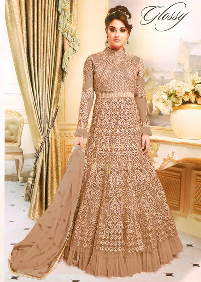 GG7274 Unstitched - Brown - Gahana Glossy Amrose Replica - Indian Designer Embroidered partywear gown - Memsaab Online