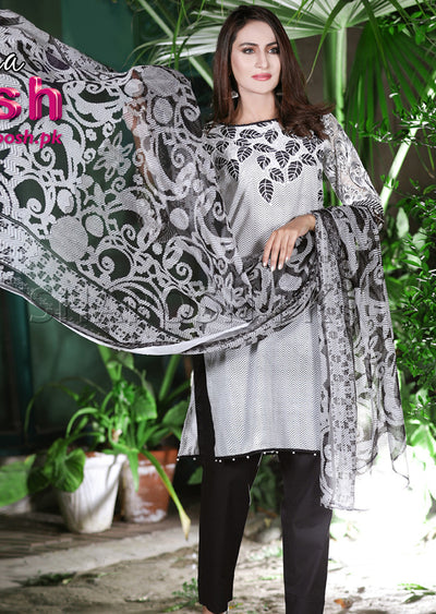 4360-PS - Black - Sha Posh - Readymade - Lawn Dress - Pakistani Casual-wear Design - Memsaab Online