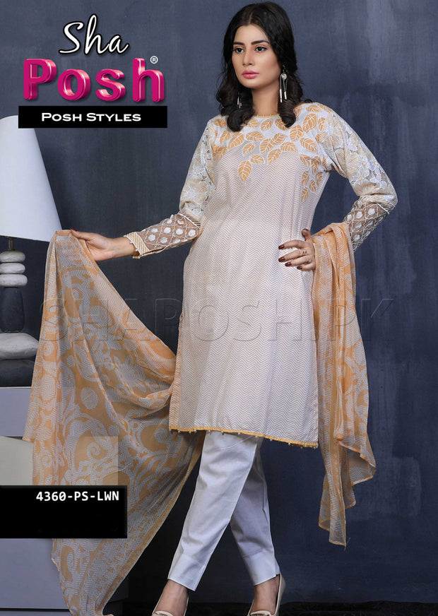 4360-PS - Peach - Sha Posh - Readymade - Lawn Dress - Pakistani Casual-wear Design - Memsaab Online