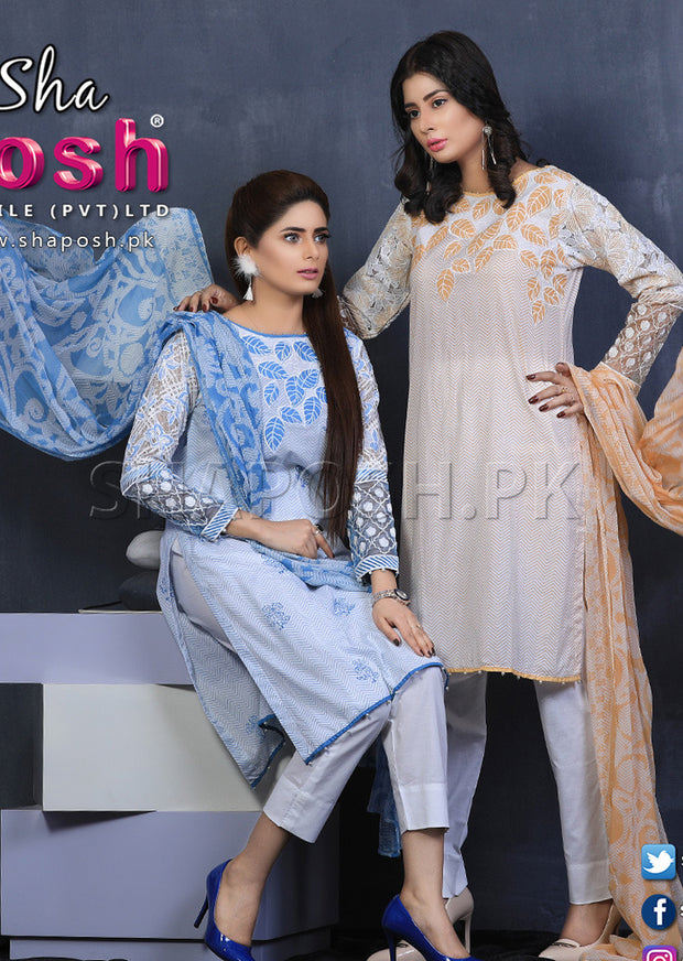 Blue - Sha Posh - Readymade - Lawn Dress - Pakistani Casual-wear Design - Memsaab Online