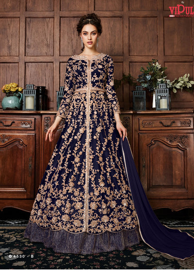 Violet 4530 - Navy - Unstitched Indian Anarkali Embroidered Net Dress - Memsaab Online