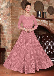 453 - Unstitched - Pink - Net Anarkali Dress - Memsaab Online