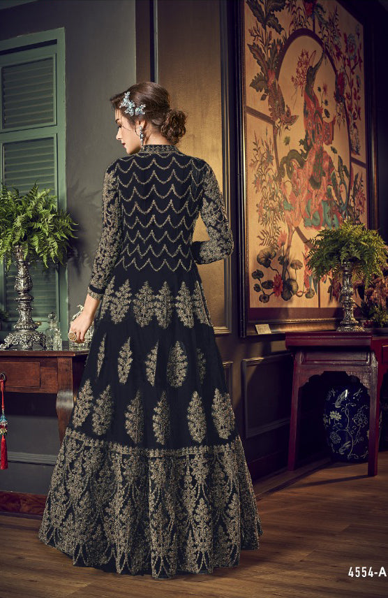 4554 Black Unstitched Heavily Embroidered Vipul inspired Dress Suit - Memsaab Online