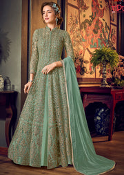4554 Mint Unstitched Heavily Embroidered Vipul inspired Dress Suit - Memsaab Online