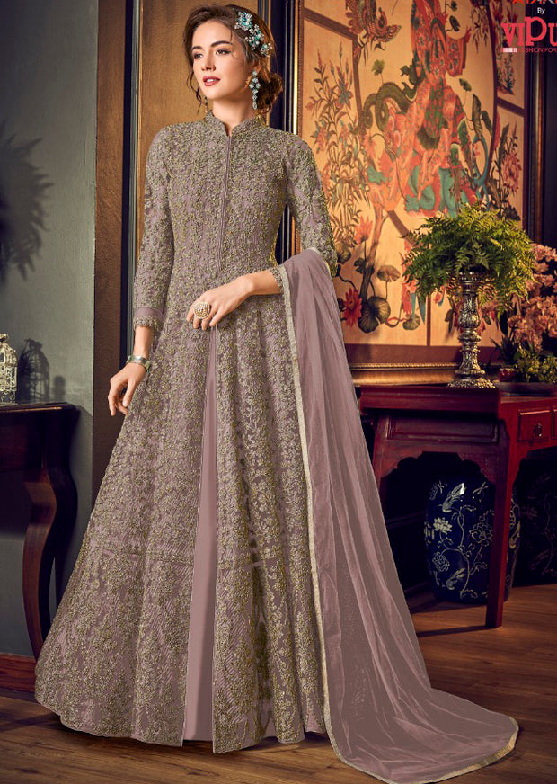 4554 Lilac Unstitched Heavily Embroidered Vipul inspired Dress Suit - Memsaab Online