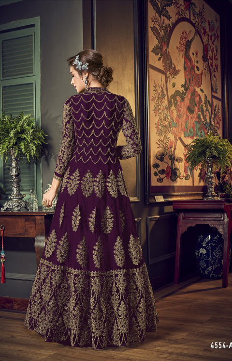 4554 Plum Unstitched Heavily Embroidered Vipul inspired Dress Suit - Memsaab Online