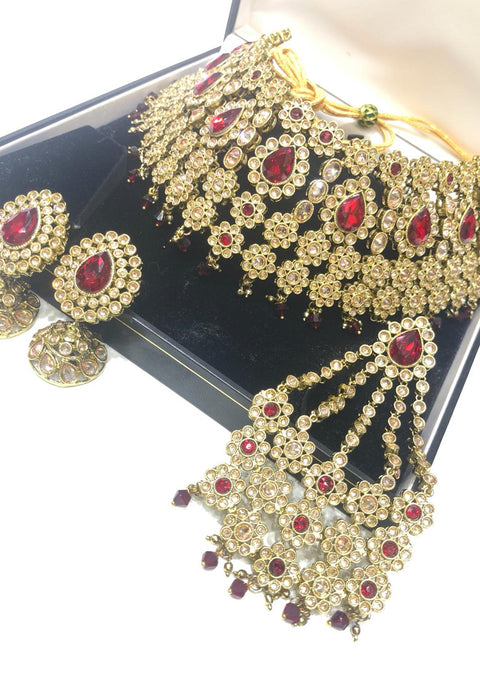 4638 Necklace Set Maroon - Memsaab Online