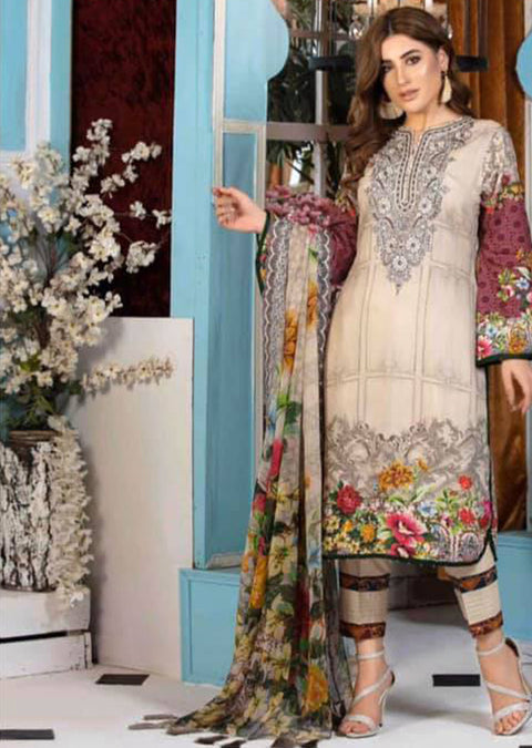 4738 - Melange Unstitched Collection by Tawakkal - Pakistani Designer Suit - Memsaab Online
