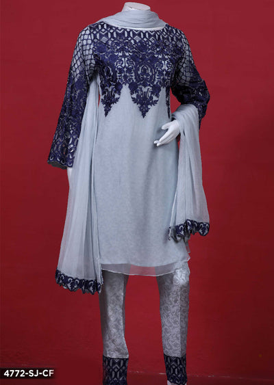 4772-SJ-CF - Blue - Sha Posh - Readytowear - Chiffon Dress - Pakistani Partwear Design - Memsaab Online